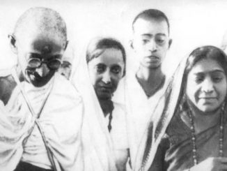 Mahatma Gandhi (left), Mithuben Petit (middle) and Sarojini Naidu (right) during the Salt Satyagraha of 1930, via Wikipedia.org