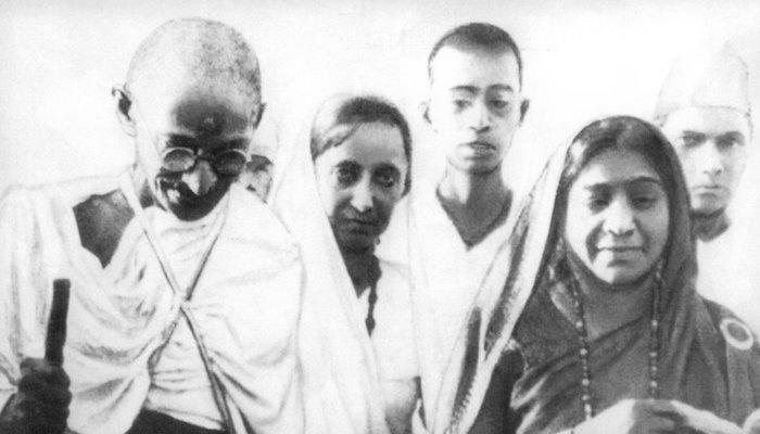 Mahatma Gandhi (left), Mithuben Petit (middle) and Sarojini Naidu (right) during the Salt Satyagraha of 1930, via Wikipedia.org