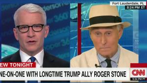 Foto: Anderson Cooper interviewt Roger Stone, Screenshot van CNN, via Youtube.com.