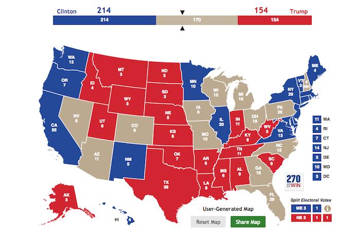 Grijze staten zijn de huidige swing states. Kaart via http://www.270towin.com/ op 11 september 2016.